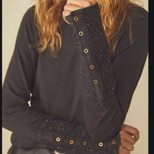 FREE PEOPLE WASHED BLACK HOOKED ON YOU CUFF TOP